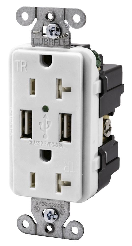 HUB USB20X2W 125V 20A WHT DLX RCPT CS=10