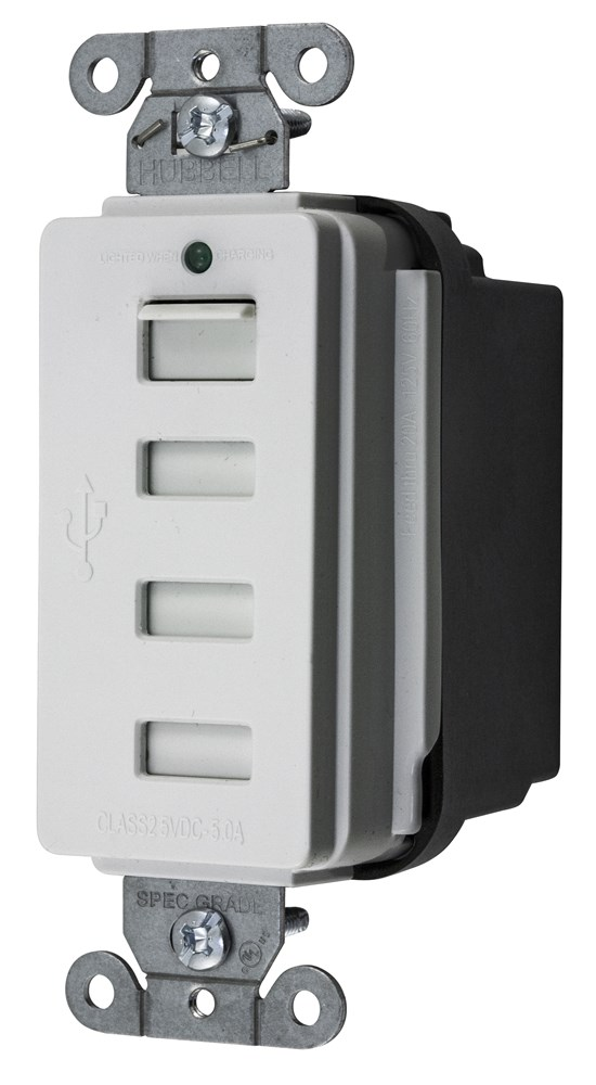 HUB USB4W 4PORT USB WHITE OUTLET CHARGER - 5AMP 5V