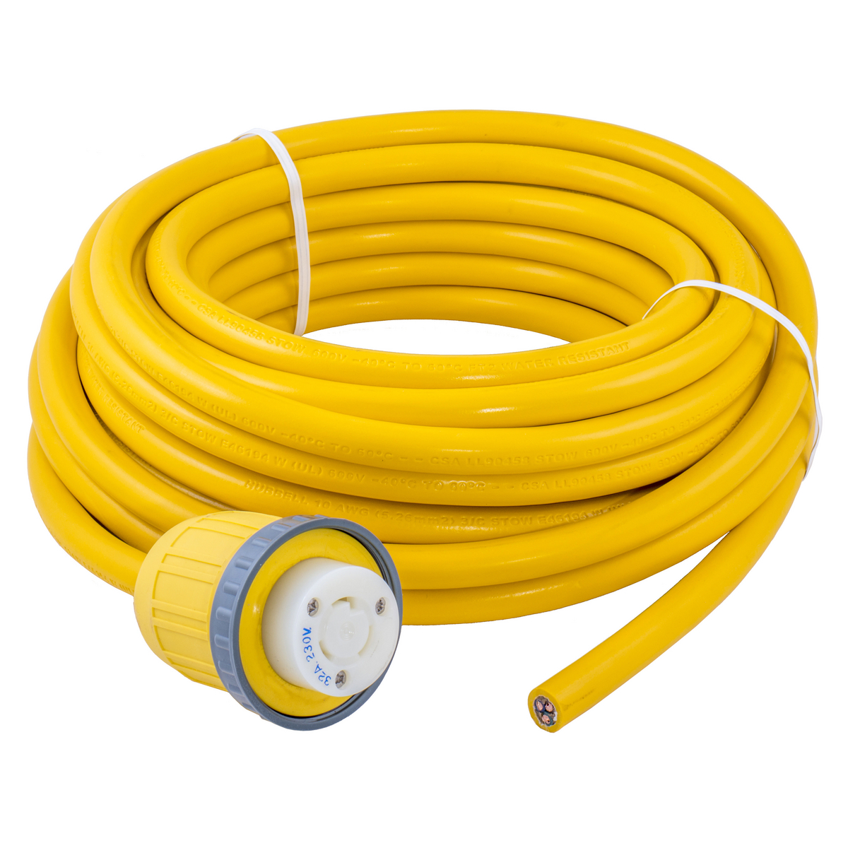 Hubbell Wiring Device-Kellems,HBL332CS,MARINE CABLE, 32A 230V, 50' YELLOW