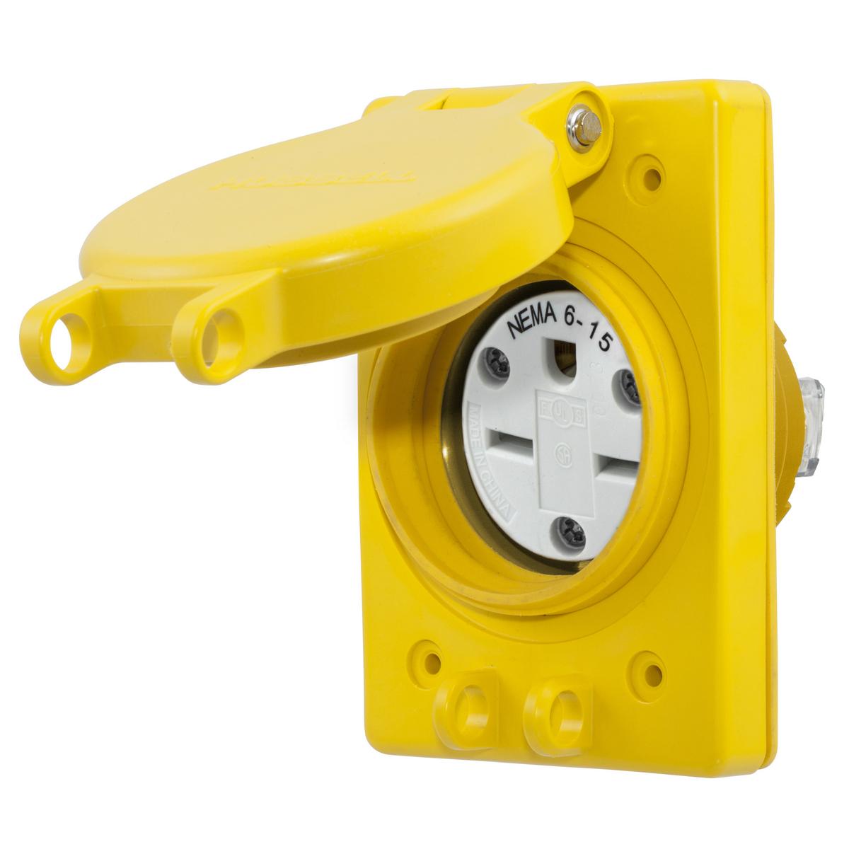 WIRING DEVICE-KELLEMS,HBL60W49,WATERTIGHT RECEP ASSY, NEMA 6-15R
