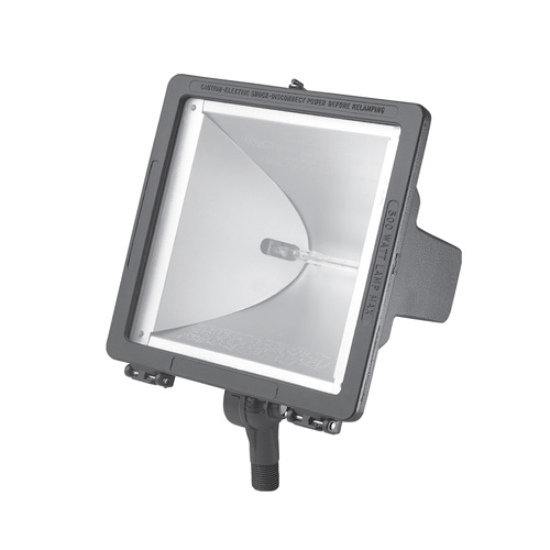 Hubbell Lighting Outdoor,QL-505,Hubbell® QL-505 Floodlight, 300/500 WTT Power, 120 VAC, Color: Gray, Quartz Lamp, Number of Lamps: 1, 8.875 IN Height X 8.625 IN Width X 5.250 IN Depth Size, T3 Shape, Knuckle Mount
