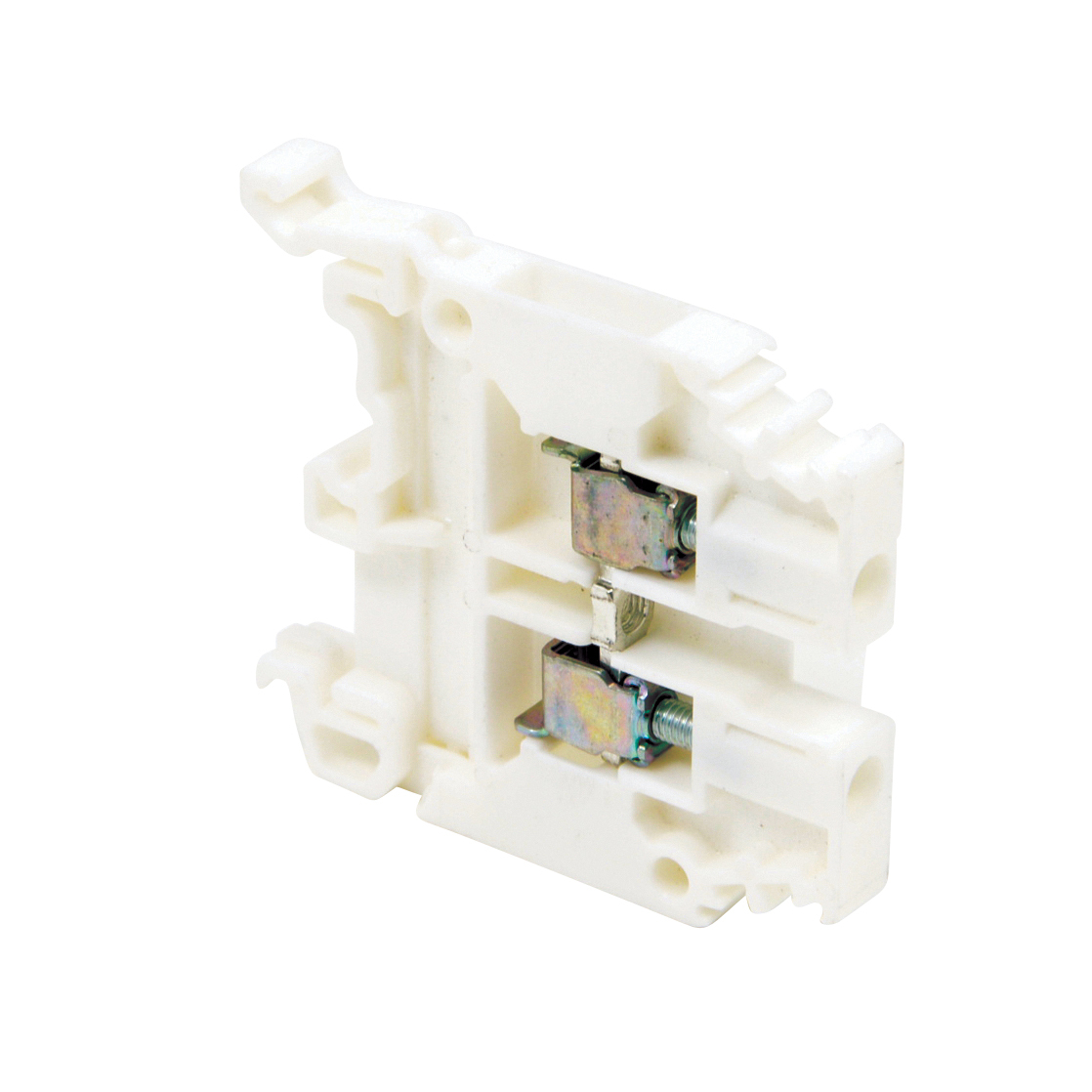 ABB 010505120 White, feed through terminal block with 6 mm spacing, 30 Amp rated UL current with screw clamp connection that accepts 22-10 AWG UL wire range