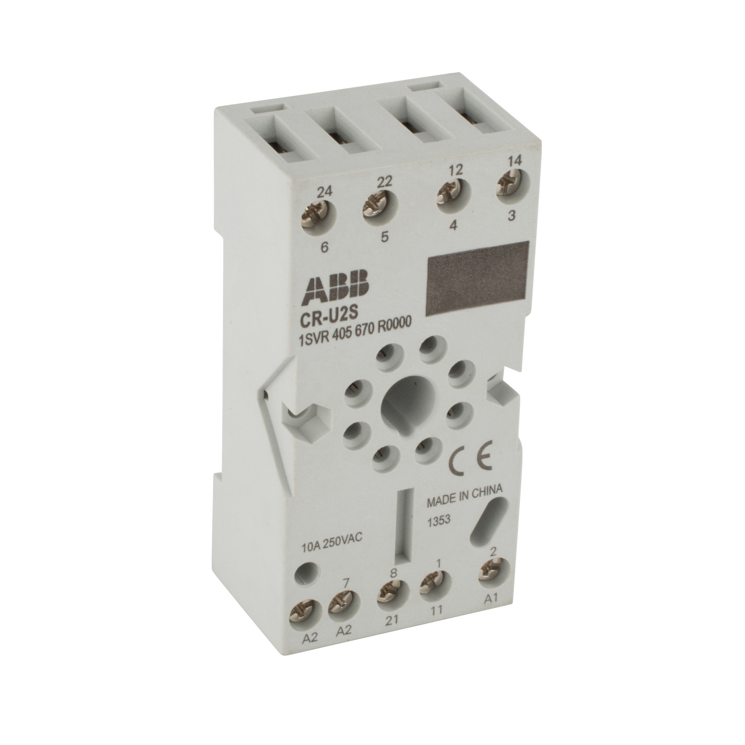 ABB,1SVR405670R0000,CR-U2S SOCKET FOR DPDT W/MODUL