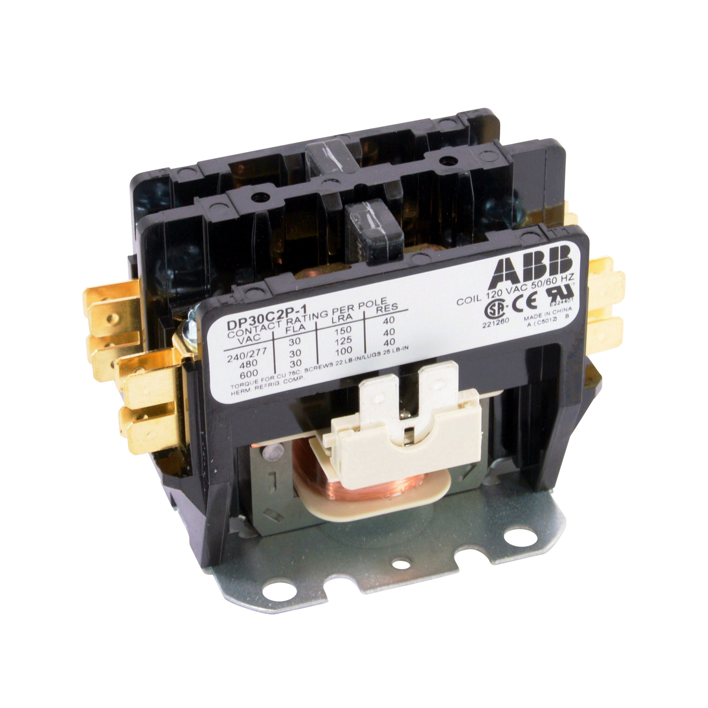 ABB,DP30C2P-1,ABB DP30C2P-1 Definite Purpose Contactor, 120 VAC Coil, 30 A Max Load, 2NO, 2 Poles
