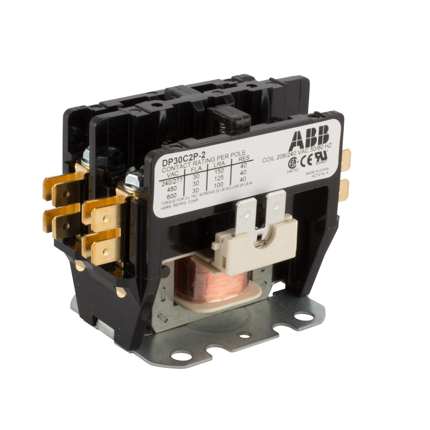 ABB DP30C2P-2 DPCONTR, 30A, 2P, 240 /208V 30 Amp, 2-Pole, Definite Purpose Contactor, 600V Rated, Screw Terminals, 208/240V AC Coil. **THESE CONTACTORS ARE NOT RECOMMENDED FOR USE ON LIGHTING CIRCUITS, IF THEY ARE USED ON LIGHTING CIRCUITS, THEY WILL NOT BE COVERED UNDER WARRANTY**