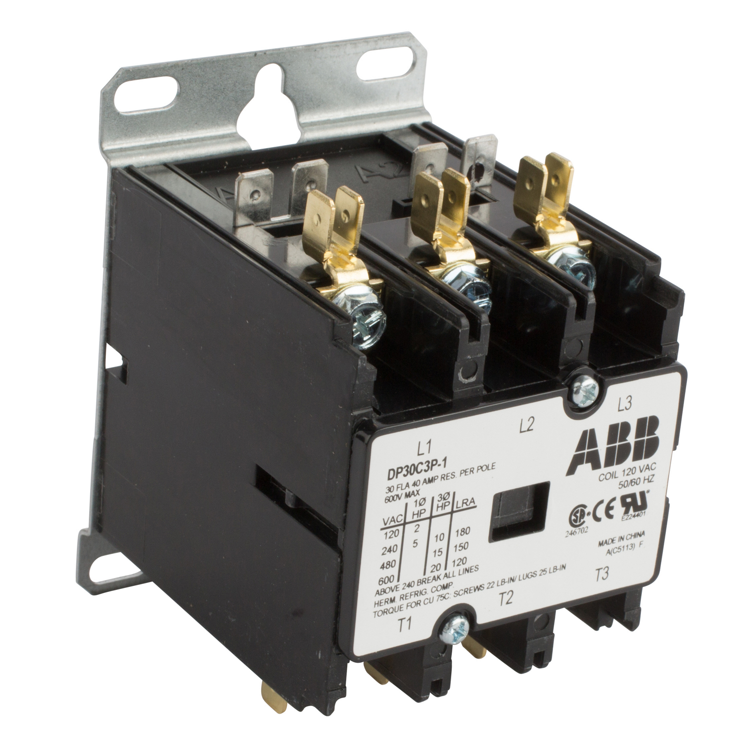 ABB DP30C3P-1 DPCONTR, 30A, 3P, 120/60 30 Amp, 3-Pole, Definite Purpose Contactor, 600V Rated, Screw Terminals, 120V AC Coil. **THESE CONTACTORS ARE NOT RECOMMENDED FOR USE ON LIGHTING CIRCUITS, IF THEY ARE USED ON LIGHTING CIRCUITS, THEY WILL NOT BE COVERED UNDER WARRANTY**