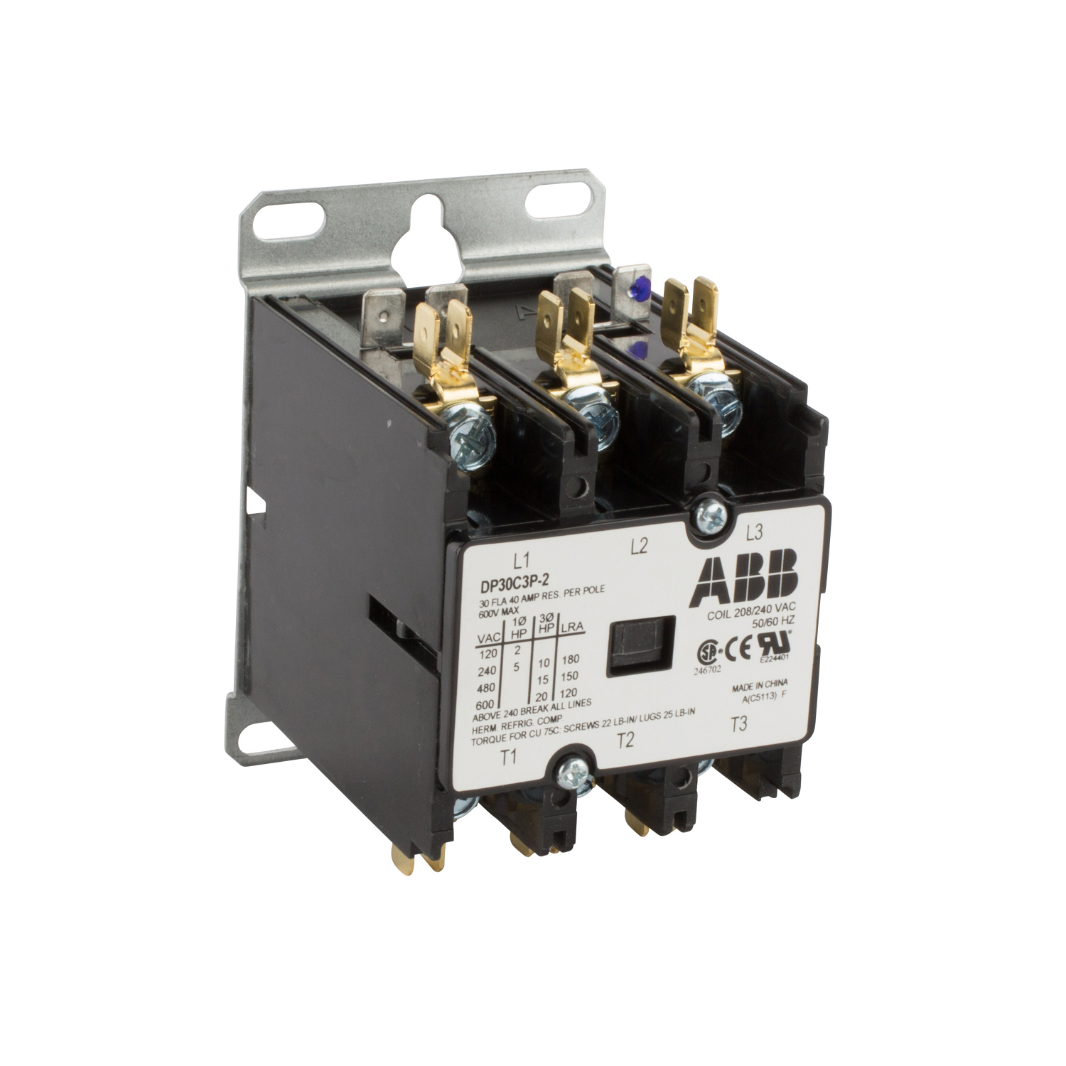 ABB DP30C3P-2 DPCONTR,30A,3P,240 / 208 30 Amp, 3-Pole, Definite Purpose Contactor, 600V Rated, Screw Terminals, 208/240V AC Coil. **THESE CONTACTORS ARE NOT RECOMMENDED FOR USE ON LIGHTING CIRCUITS, IF THEY ARE USED ON LIGHTING CIRCUITS, THEY WILL NOT BE COVERED UNDER WARRANTY**