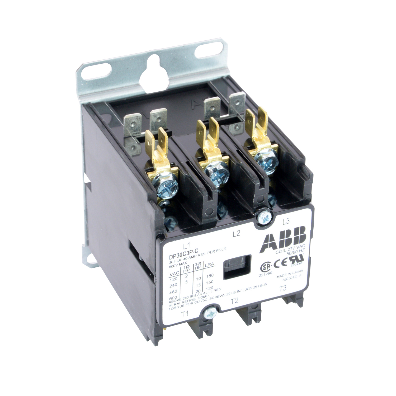 ABB DP30C3P-C DPCONTR, 30A, 3P, 277VAC 30 Amp, 3-Pole, Definite Purpose Contactor, 600V Rated, Screw Terminals, 277V AC Coil.