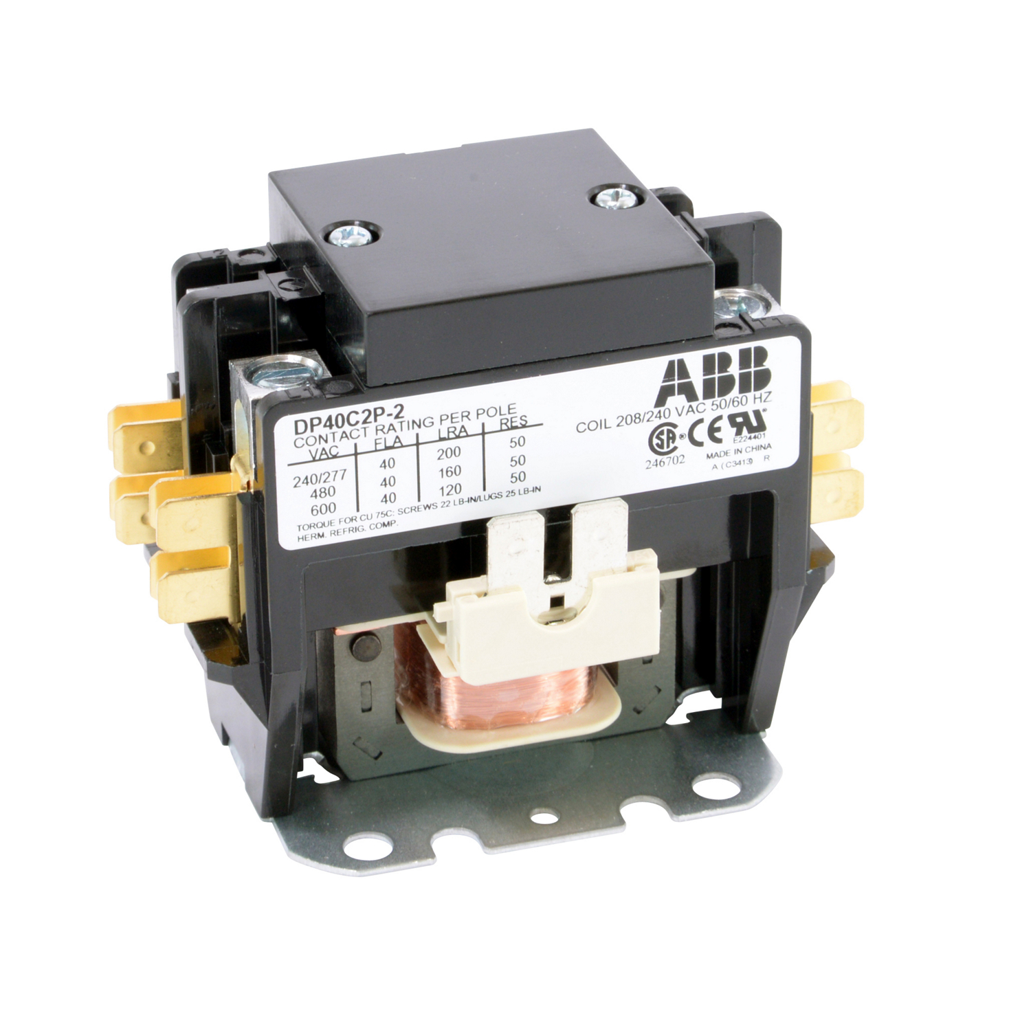 ABB DP40C2P-2 DPCONTR, 40A, 2P, 240 /208V 40 Amp, 2-Pole, Definite Purpose Contactor, 600V Rated, Screw Terminals, 208/240V AC Coil. **THESE CONTACTORS ARE NOT RECOMMENDED FOR USE ON LIGHTING CIRCUITS, IF THEY ARE USED ON LIGHTING CIRCUITS, THEY WILL NOT BE COVERED UNDER WARRANTY**