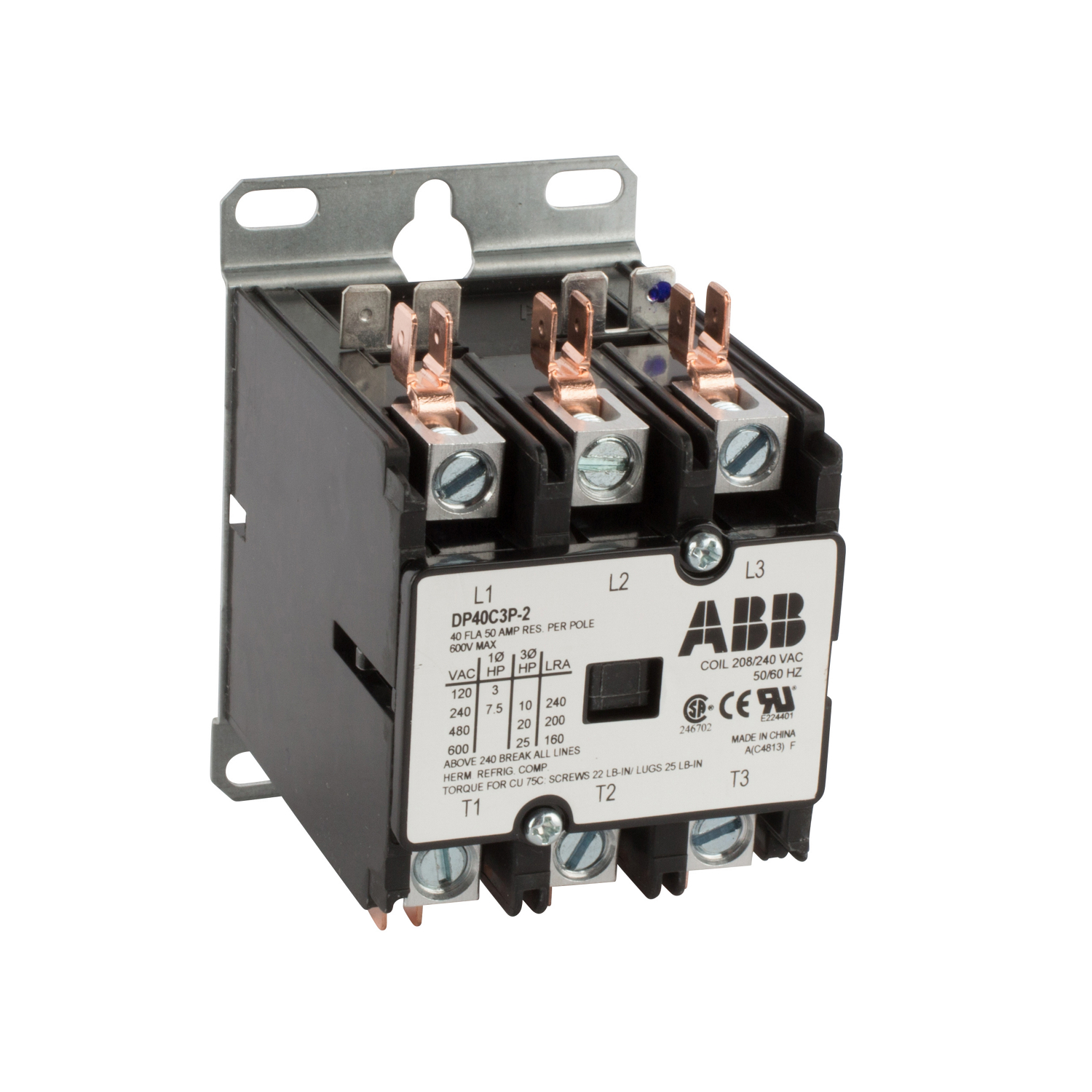 ABB DP40C3P-2 DPCONTR, 40A, 3P, 240 /208V 40 Amp, 3-Pole, Definite Purpose Contactor, 600V Rated, Screw Terminals, 208/240V AC Coil. **THESE CONTACTORS ARE NOT RECOMMENDED FOR USE ON LIGHTING CIRCUITS, IF THEY ARE USED ON LIGHTING CIRCUITS, THEY WILL NOT BE COVERED UNDER WARRANTY**