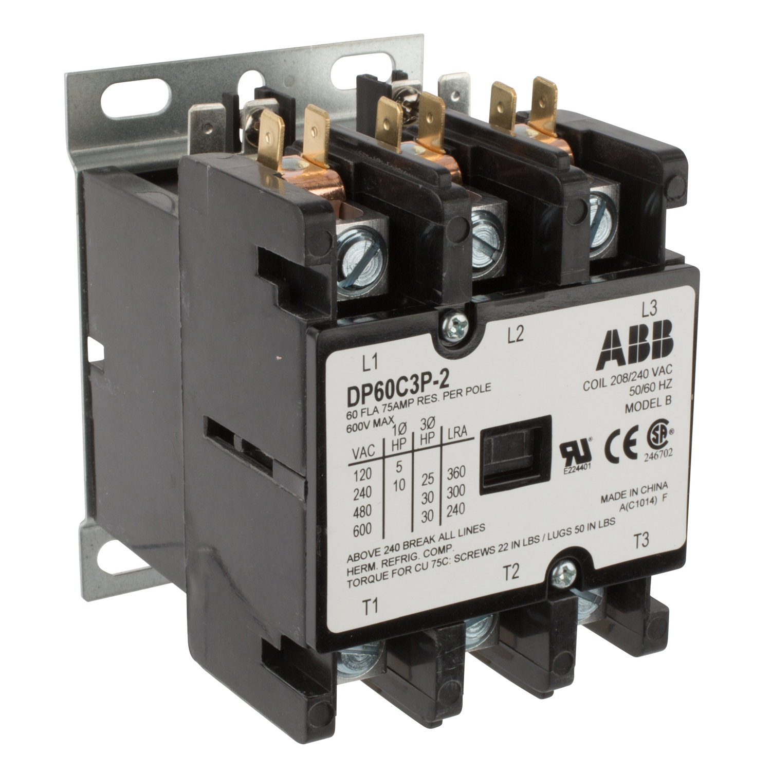 ABB DP60C3P-2 DPCONTR,60A,3P,240 /208V 60 Amp, 3-Pole, Definite Purpose Contactor, 600V Rated, Screw Terminals, 208/240V AC Coil. **THESE CONTACTORS ARE NOT RECOMMENDED FOR USE ON LIGHTING CIRCUITS, IF THEY ARE USED ON LIGHTING CIRCUITS, THEY WILL NOT BE COVERED UNDER WARRANTY**