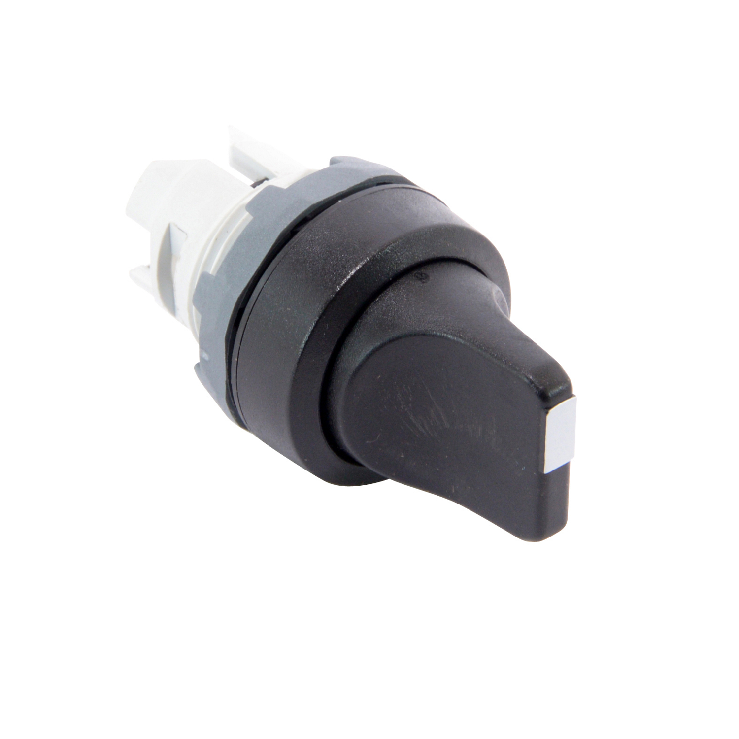 ABB M3SS2-10B Selctor Switch Modular, 3 position, momentary with spring return from A to B and from C to B, non-illuminated selector switch with black short handle. Add Holder & Contacts