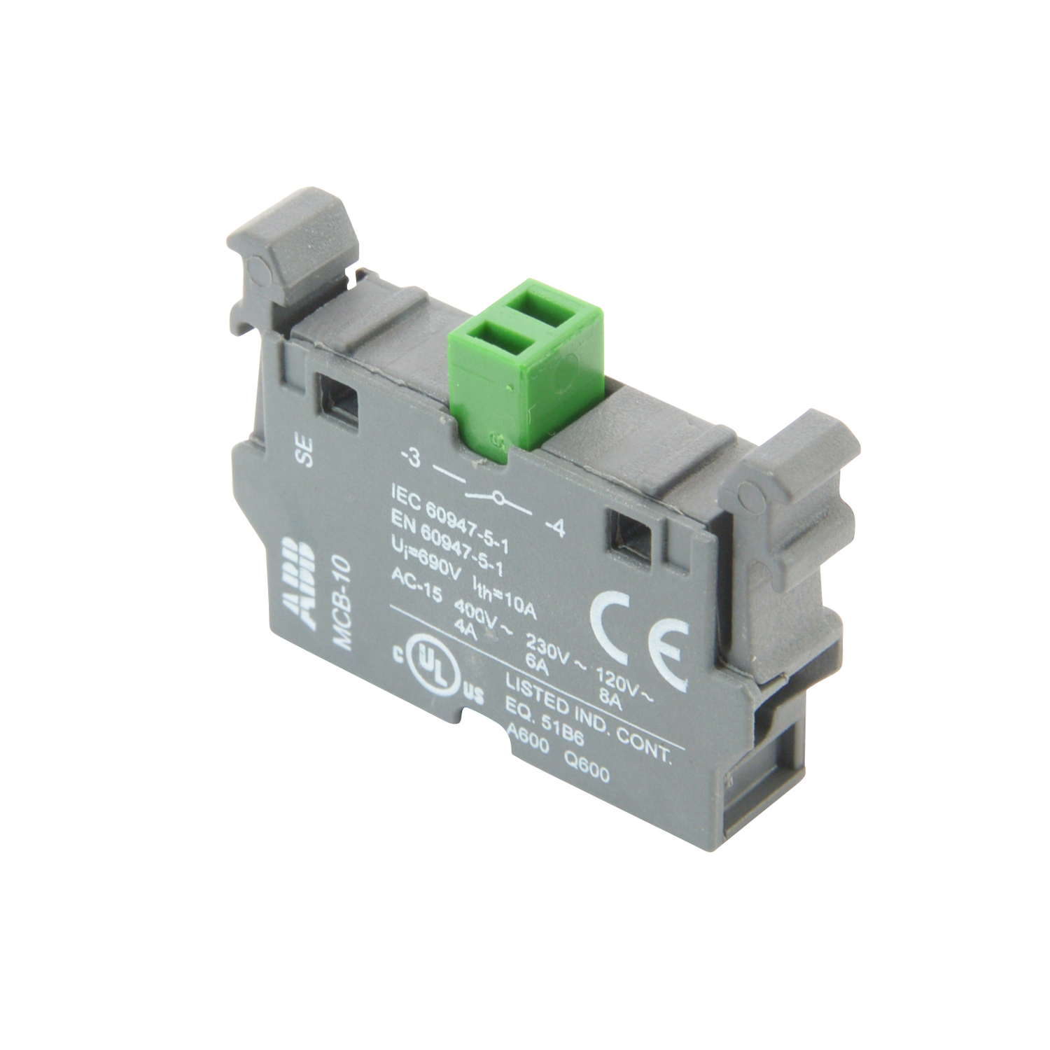 ABB MCB-10 Single contact block for front mounting with 1 NO contact.(formally SK-616-001-A)