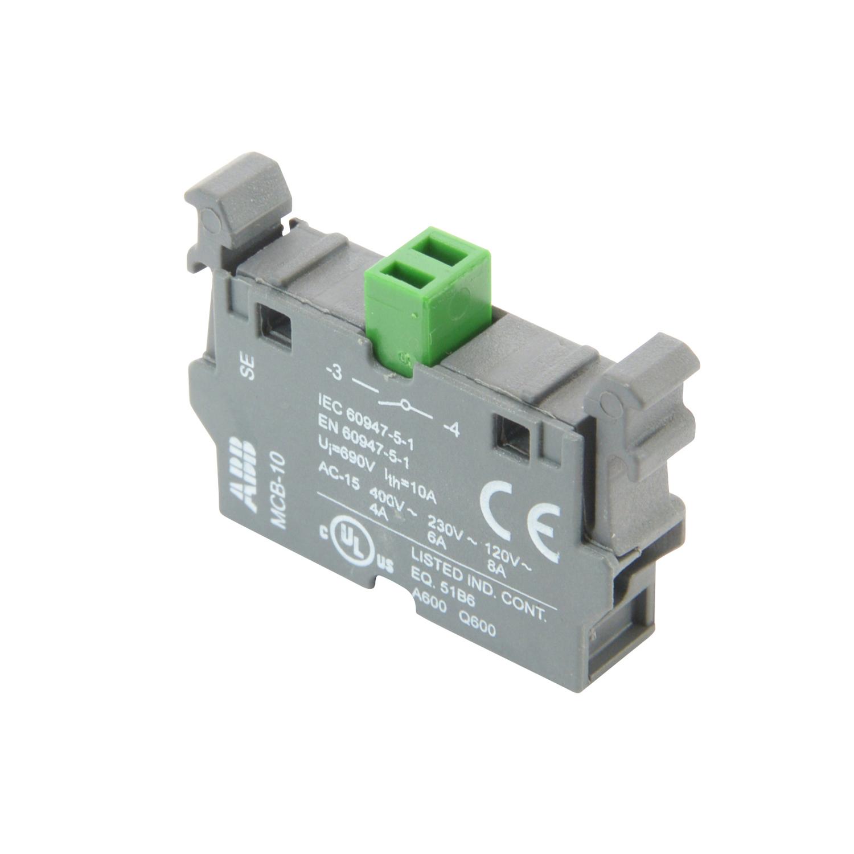 ABB,MCB-10,ABB MCB Single Non-Illuminated Modular Contact Block, 22.5 mm, 1NO, Silver Contact