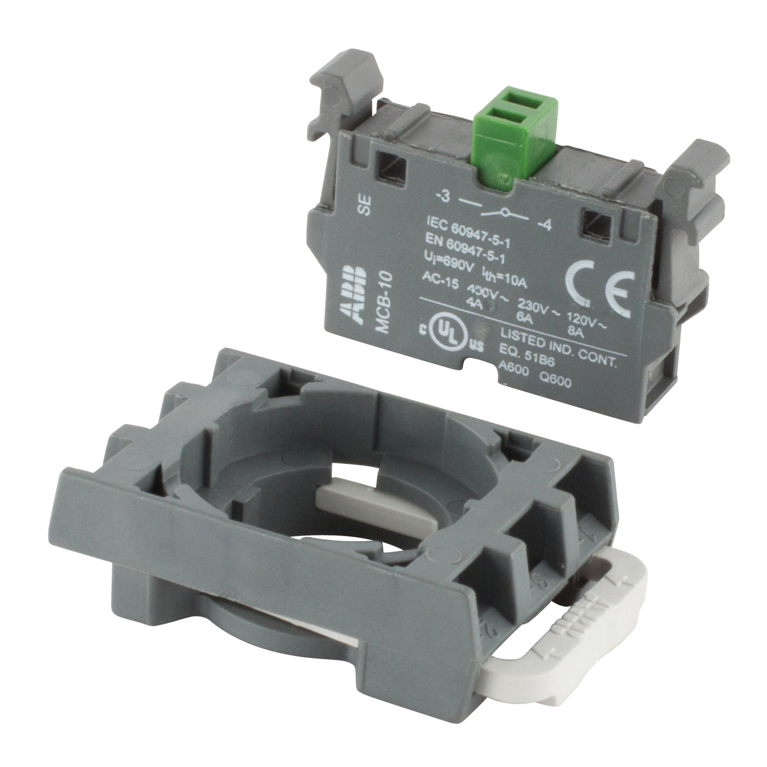 ABB MCBH-10 Front mounted 1 NO contact block with holder designed for non-illuminated operators