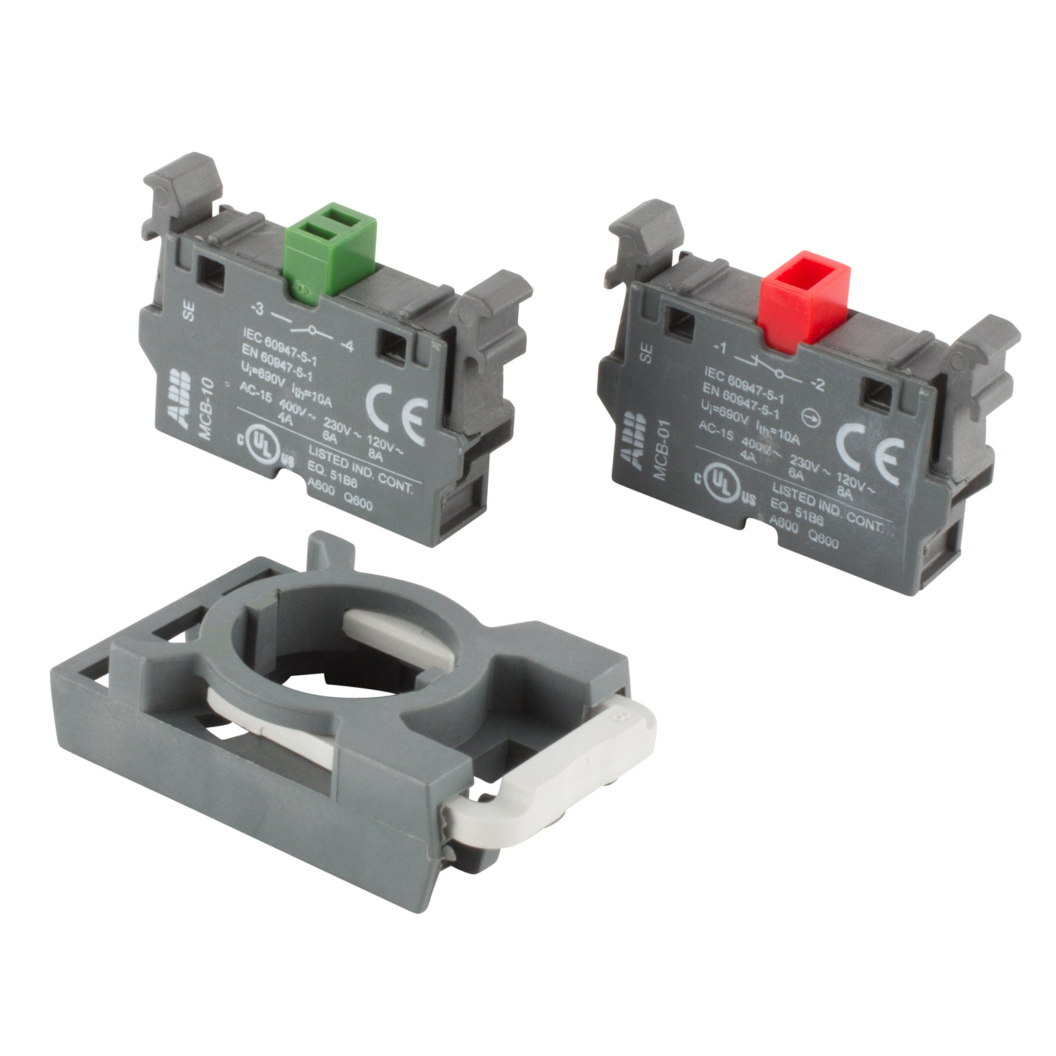 ABB MCBH-11 Front mounted 1 NO and 1 NC contact block and holder designed for non-illuminated operators