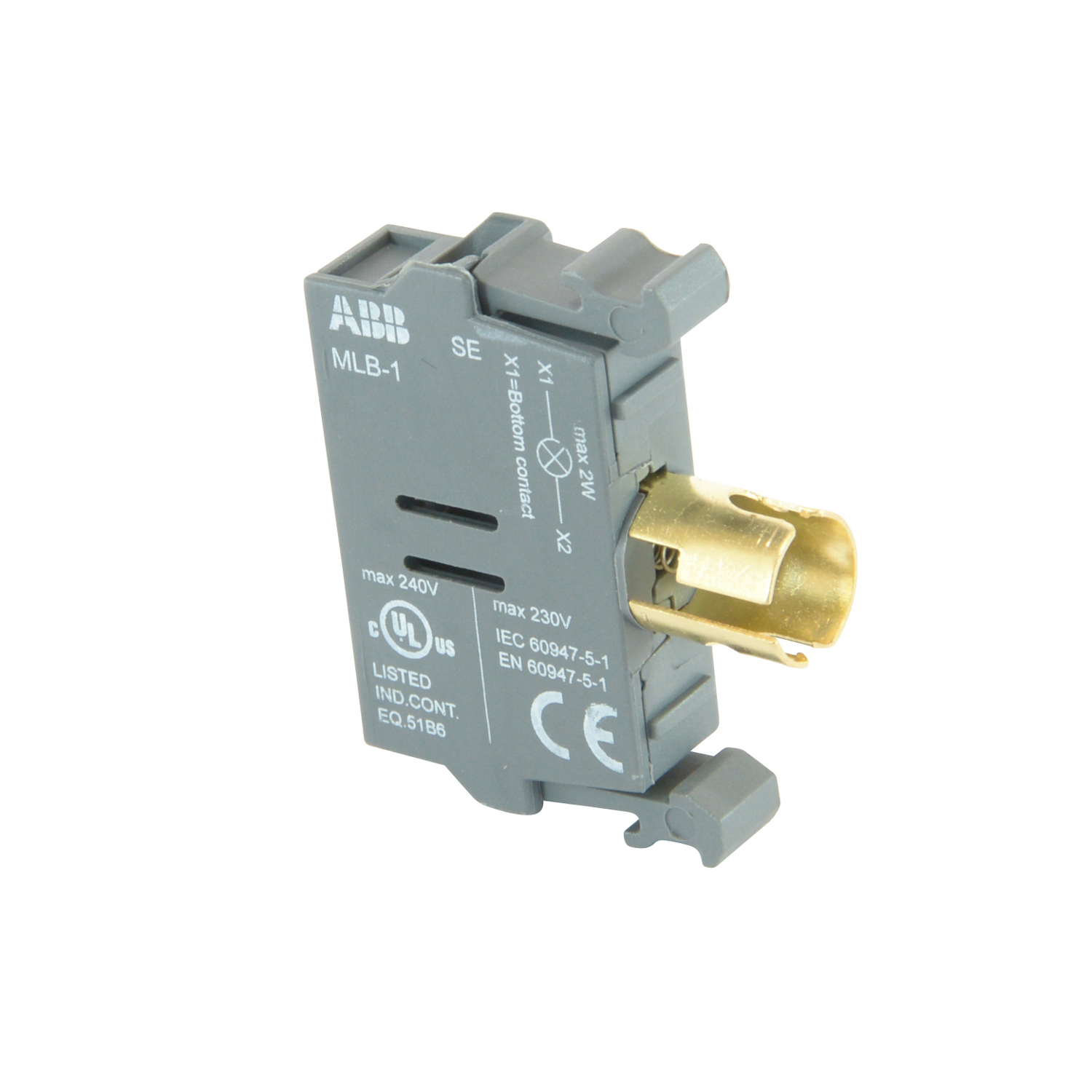 ABB MLB-1 Lamp Block, Direct Voltage, 2W/230V, Accepts Incandescent or LED Bulb, 2W/230V Max, Less Bulb, No Holder