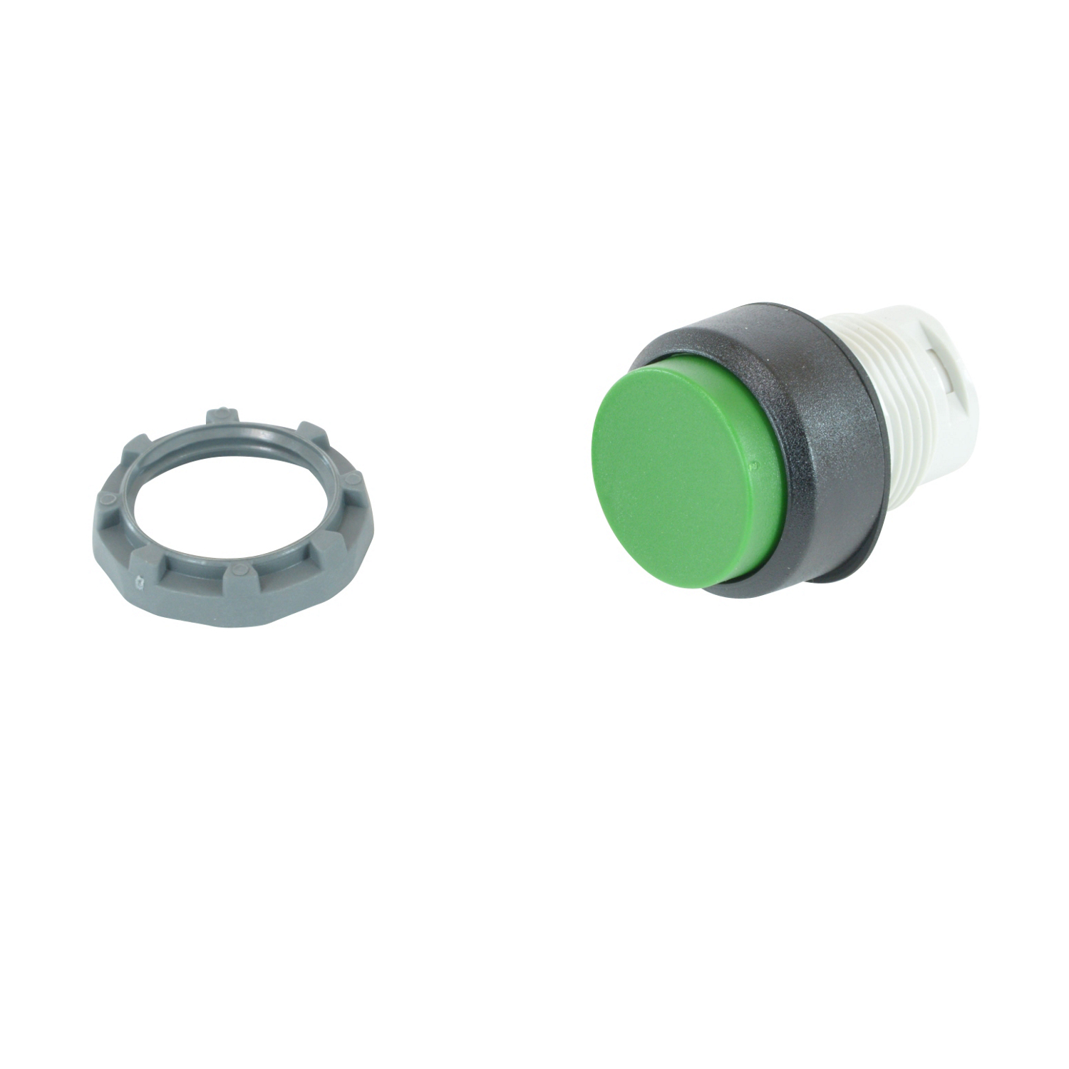 ABB MP3-10G Pushbutton operator, Momentary with green non-illuminated actuator and 22mm mounting ADD holder & Contacts