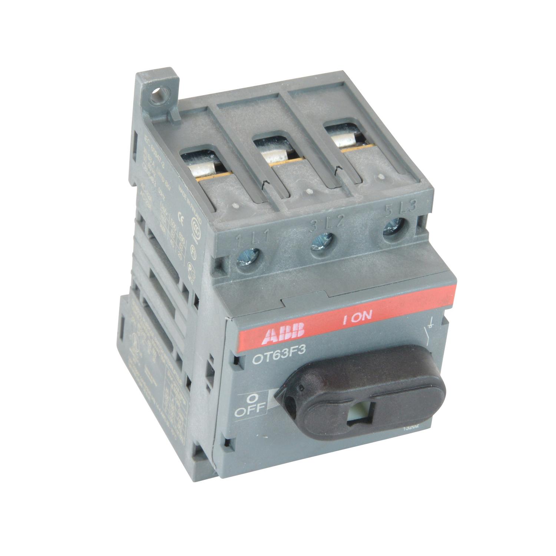 ABB OT63F3 3 Pole, 60Amps,600VoltsAC,Disconnect. UL508, Mounting:Panel;DIN, OperatorType:Thru-Door, MaxHP230/240V3PH:15Horsepower