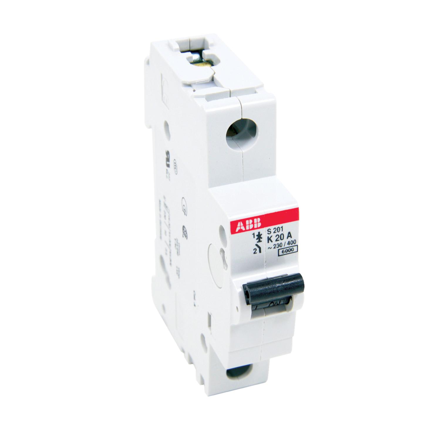 ABB,S201-K20,ABB S200 Miniature Circuit Breaker, 277/480 VAC, 20 A, 6 kA Interrupt, 1 Pole, Thermal Magnetic Trip