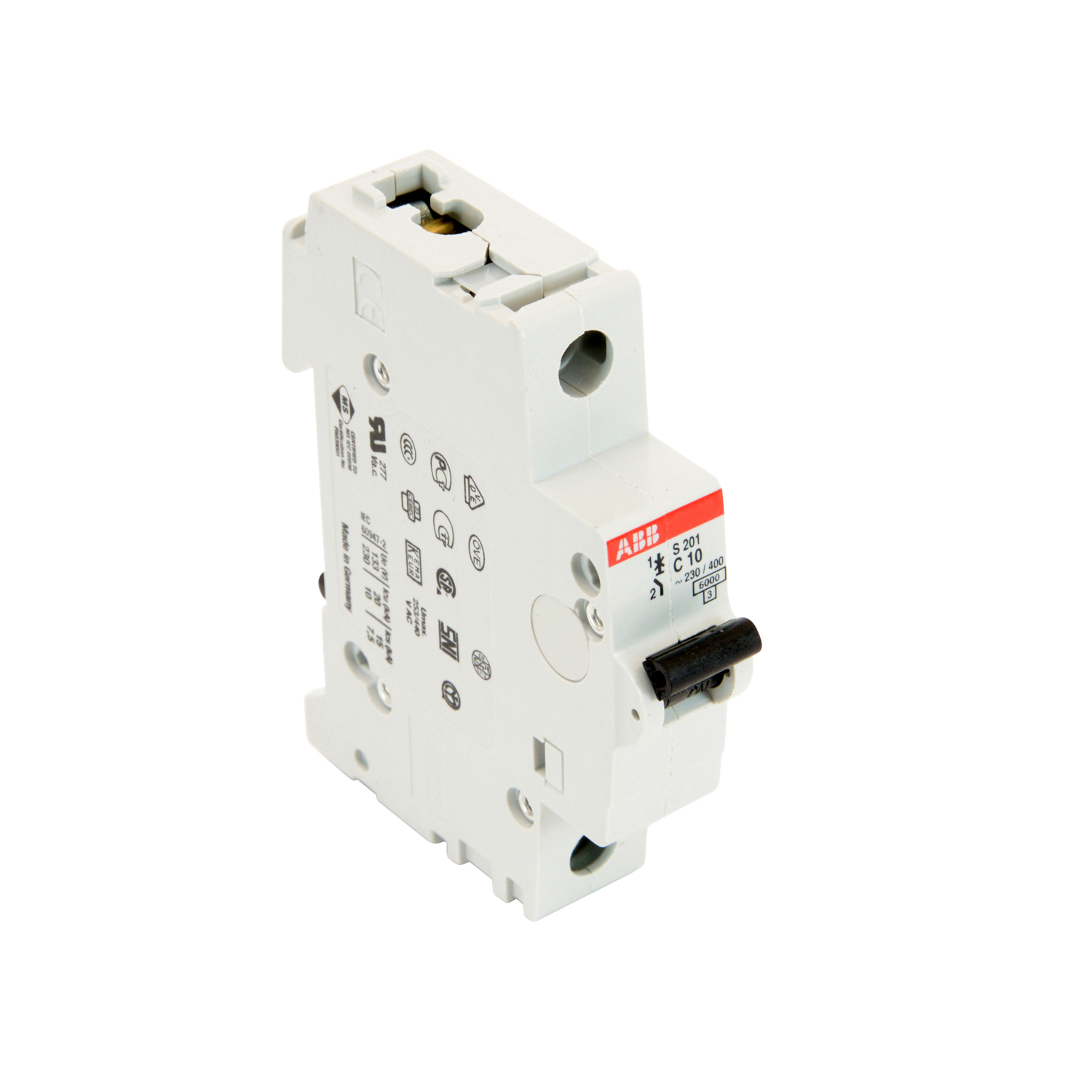 ABB S201-C10 1 pole, 10 amps rated at 480Y/277 VAC, UL 1077 series miniature circuit breaker with thermal-magnetic trip device, C trip curve, and 6kA interrupt current rating