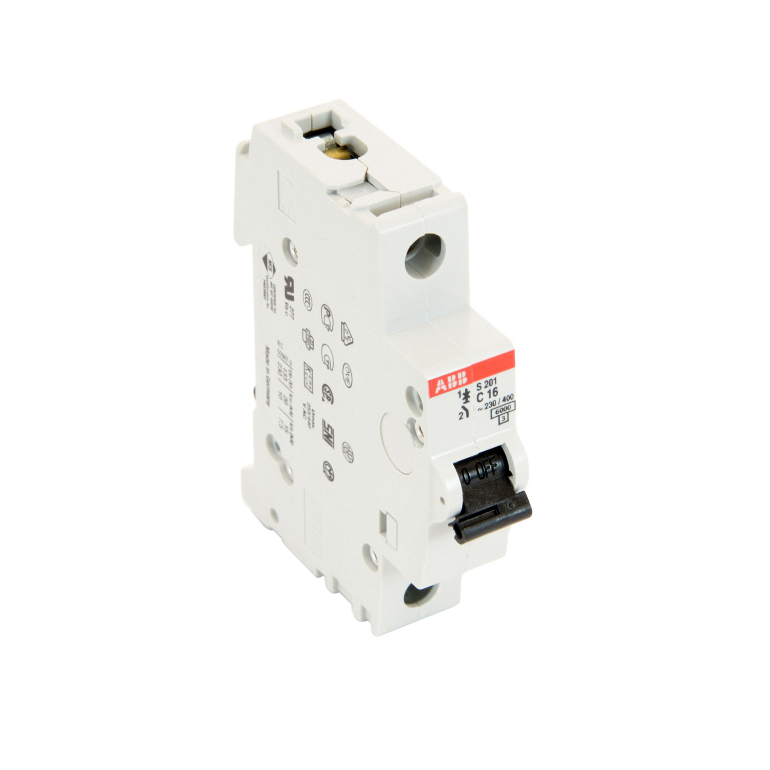 ABB S201-C20 1 pole, 20 amps rated at 480Y/277 VAC, UL 1077 series miniature circuit breaker with thermal-magnetic trip device, C trip curve, and 6kA interrupt current rating
