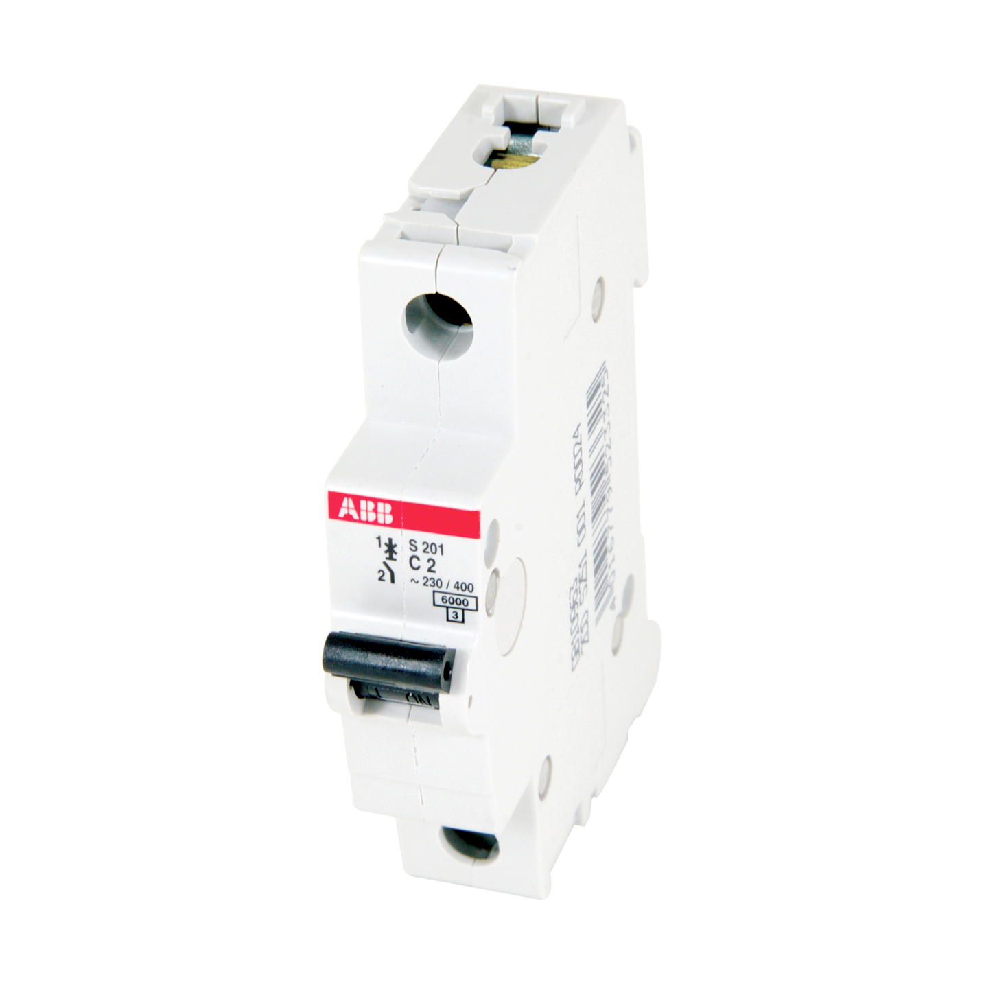 ABB S201-C2 1 pole, 2 amps rated at 480Y/277 VAC, UL 1077 series miniature circuit breaker with thermal-magnetic trip device, C trip curve, and 6kA interrupt current rating