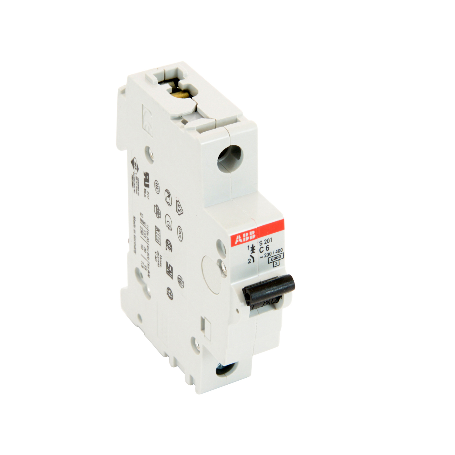 ABB S201-C6 1 pole, 6 amp rated at 480Y/277 VAC, UL 1077 series miniature circuit breaker with thermal-magnetic trip device, C trip curve, and 6kA interrupt current rating