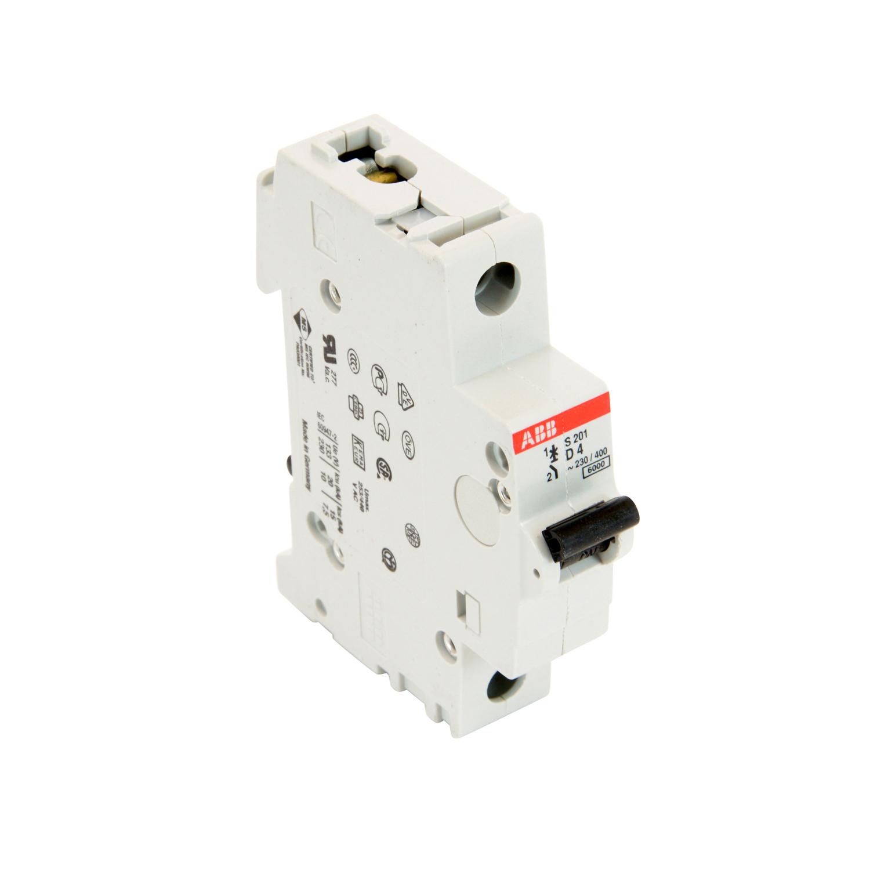ABB,S201-D4,ABB S200 Miniature Circuit Breaker, 277/480 VAC, 4 A, 6 kA Interrupt, 1 Pole, Thermal Magnetic Trip