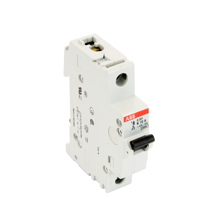 ABB,S201-K10,ABB S200 Miniature Circuit Breaker, 277/480 VAC, 10 A, 6 kA Interrupt, 1 Pole, Thermal Magnetic Trip