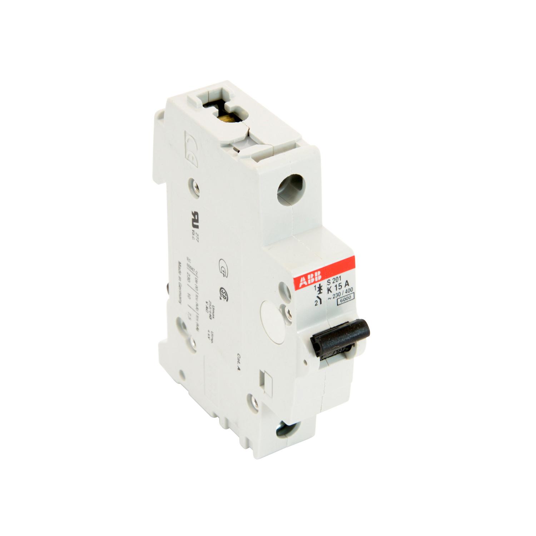 ABB,S201-K15,ABB S200 Miniature Circuit Breaker, 277/480 VAC, 15 A, 6 kA Interrupt, 1 Pole, Thermal Magnetic Trip