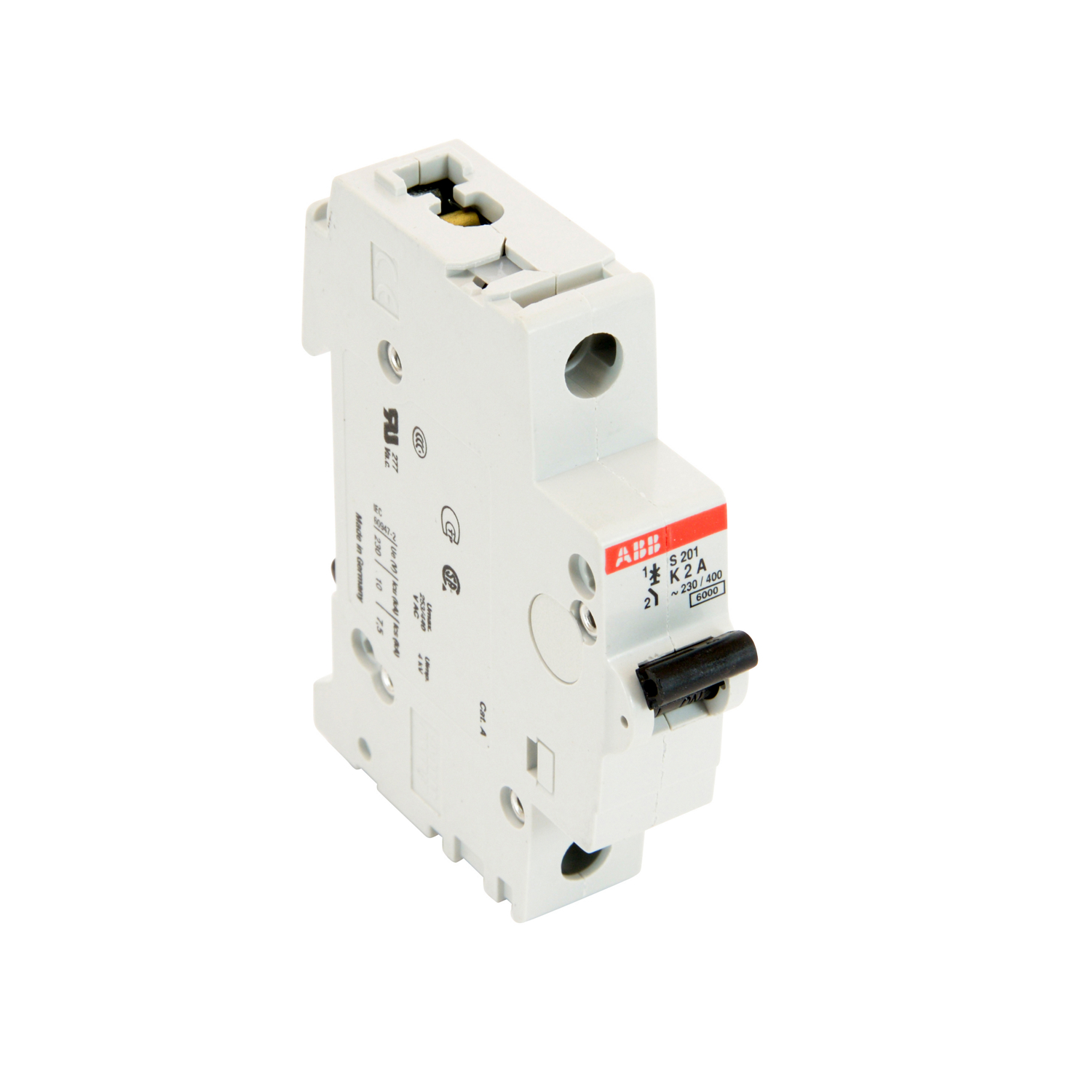 ABB S201-K2 1 pole, 2 amp rated at 480Y/277 VAC, UL 1077 series miniature circuit breaker with thermal-magnetic trip device, K trip curve, and 6kA interrupt current rating