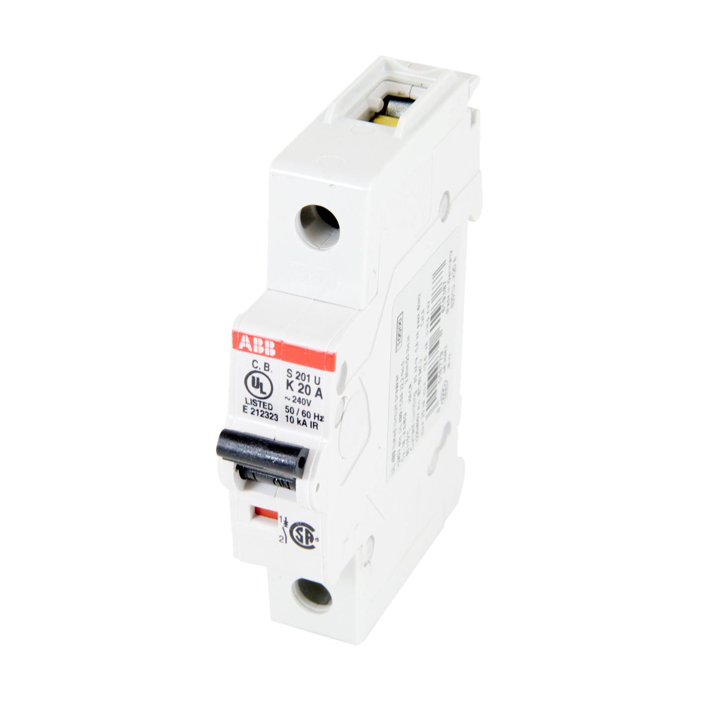 Thomas & Betts S201U-K20 1-Pole 20 Amp 240 Volt Bcpd Miniature Circuit Breaker