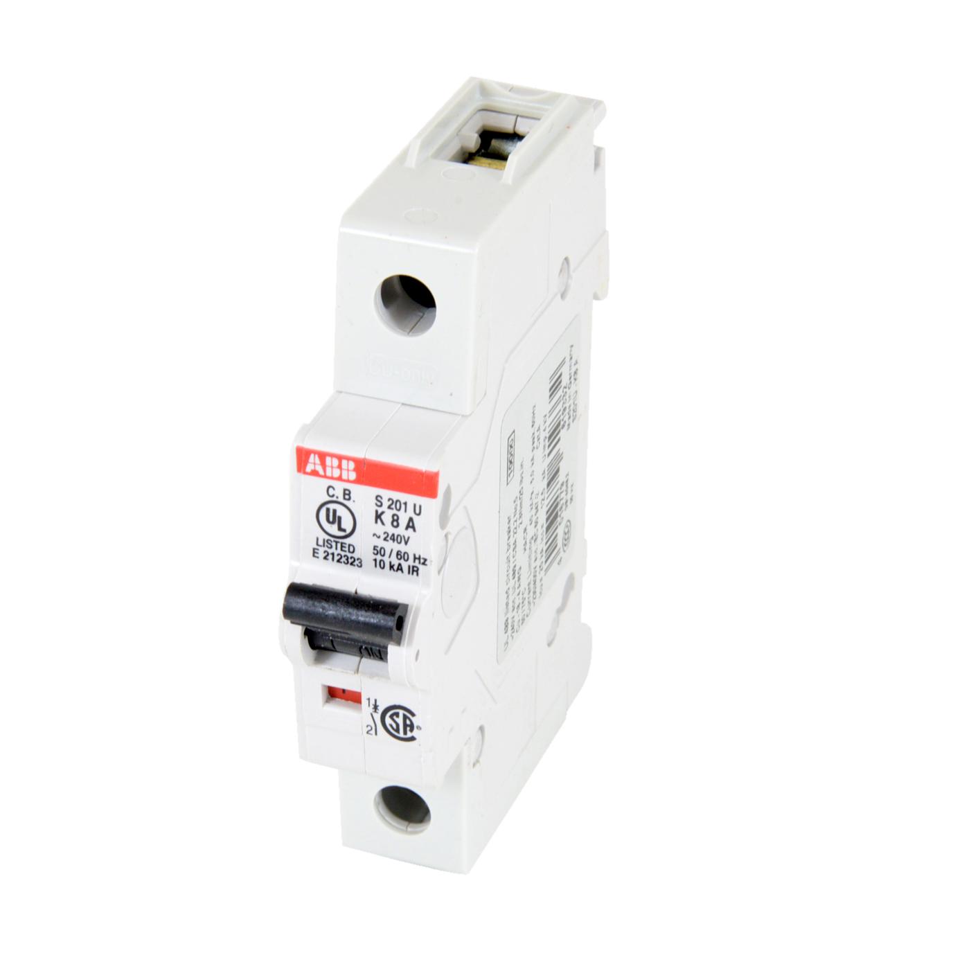 ABB S201U-K8 Miniature Circuit Breaker, 8 Amps, 240V AC. K - Curve. 10 kAIC. S200 Series. Branch Circuit Protection. UL 489, CSA C 22.