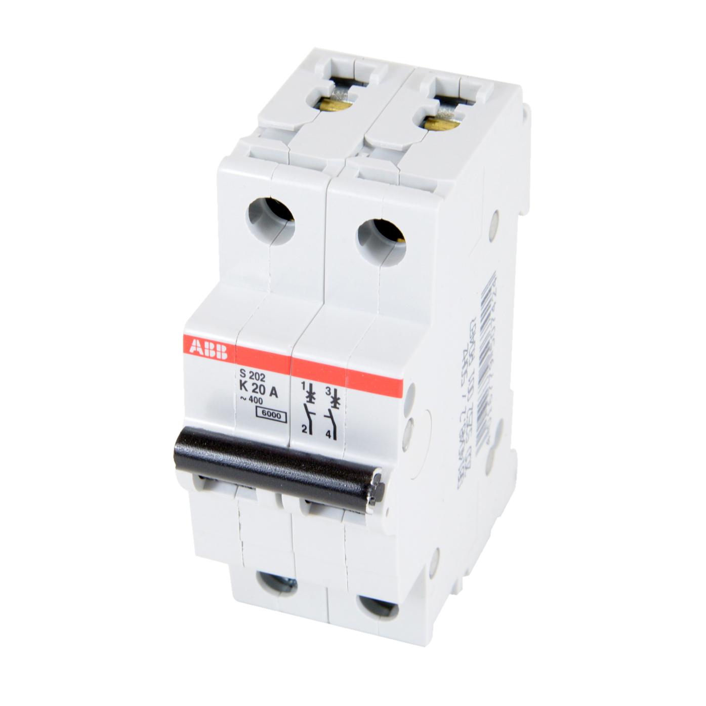ABB,S202-K20,ABB S200 Miniature Circuit Breaker, 277/480 VAC, 20 A, 6 kA Interrupt, 2 Poles, Thermal Magnetic Trip