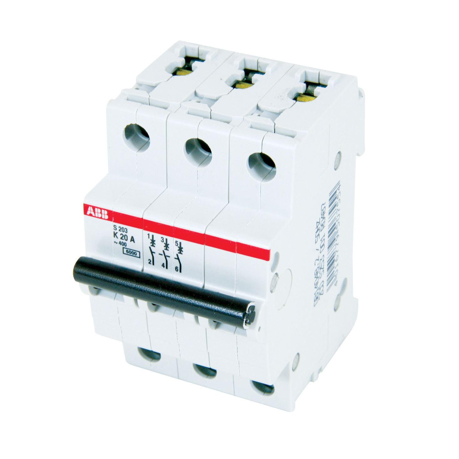 ABB,S203-K20,ABB S200 Miniature Circuit Breaker, 277/480 VAC, 20 A, 6 kA Interrupt, 3 Poles, Thermal Magnetic Trip