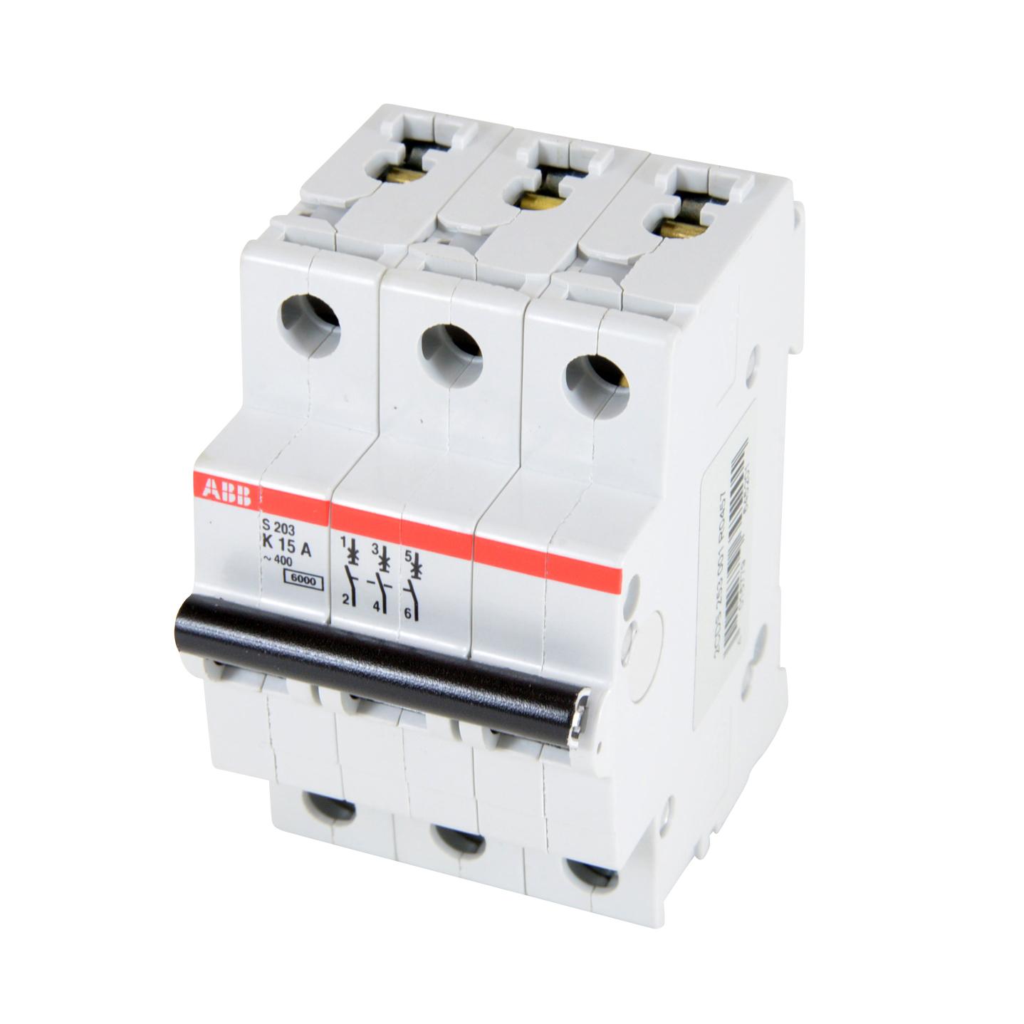ABB,S203-K15,ABB S200 Miniature Circuit Breaker, 277/480 VAC, 15 A, 6 kA Interrupt, 3 Poles, Thermal Magnetic Trip