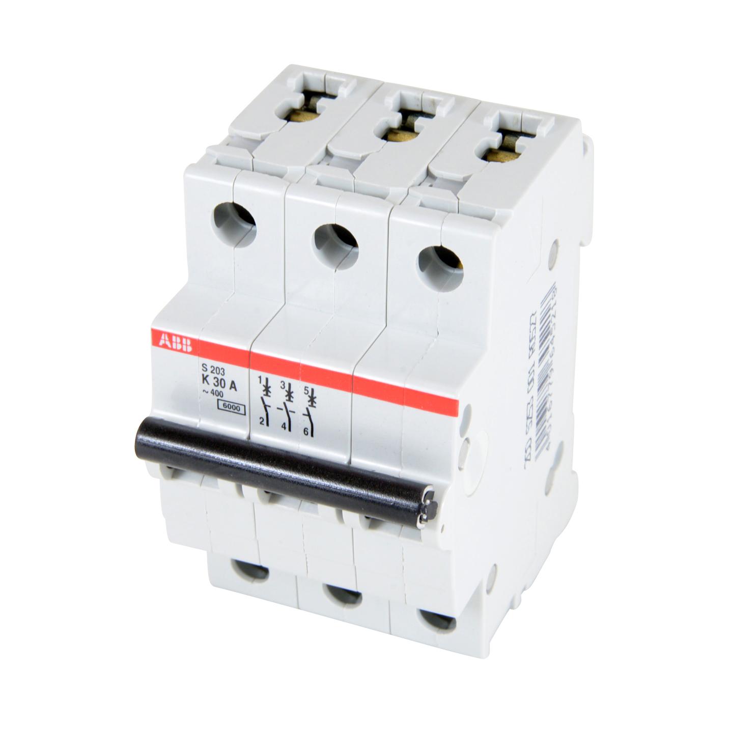 ABB,S203-K30,ABB S200 Low Voltage Miniature Circuit Breaker, 277/Y480 VAC, 30 A, 6 kA Interrupt, 3 Poles