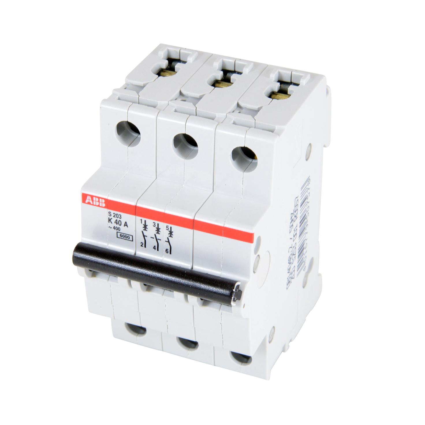 ABB,S203-K40,ABB S200 Miniature Circuit Breaker, 277/480 VAC, 40 A, 6 kA Interrupt, 3 Poles, Thermal Magnetic Trip