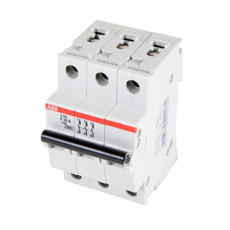 ABB,S203-K50,ABB S200 Miniature Circuit Breaker, 277/480 VAC, 50 A, 6 kA Interrupt, 3 Poles, Thermal Magnetic Trip