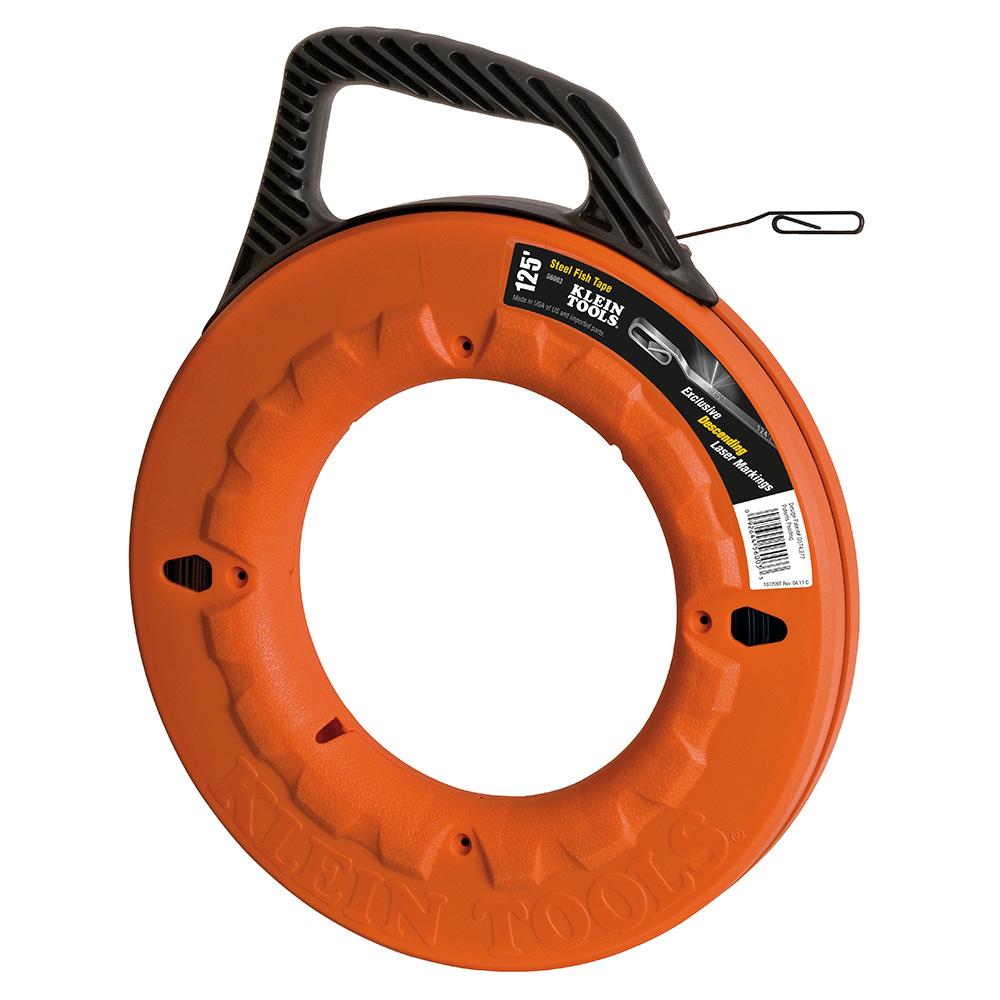Klein Tools,56003,Klein® 56003 Wide Fish Tape, 1/8 in W 125 ft L Flat Steel Blade, Orange/Black