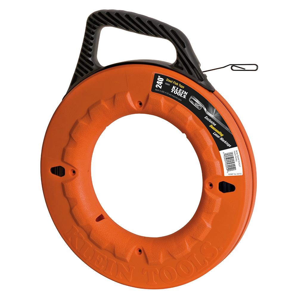 Klein Tools,56004,Klein® 56004 Wide Fish Tape, 1/8 in W 240 ft L Flat Steel Blade, Orange/Black