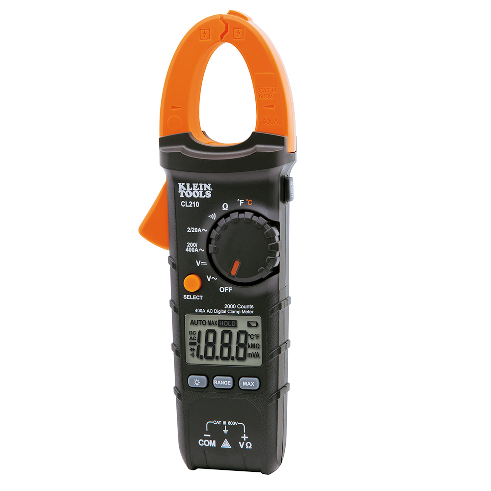 KLECL210 KLEIN CL210 CLAMP METER;Klein® CL210 Digital Clamp Meter, 400 A, 600 VAC/VDC, 20 mOhm, 45/400 Hz, 1-1/8 in Jaw, LCD Display