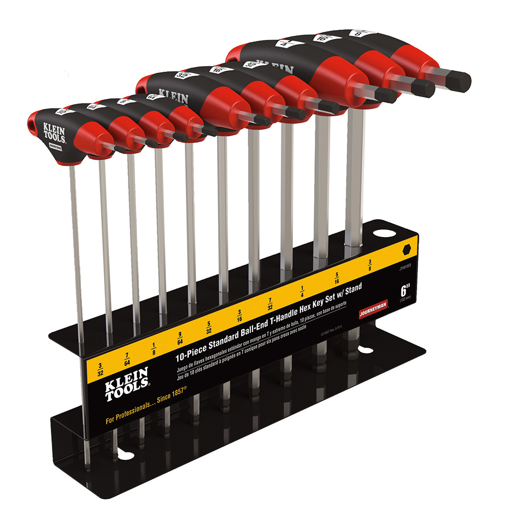 Klein Tools,JTH610EB,Klein® Journeyman™ JTH610EB Ball-End T-Handle Hex-Key Set With Stand, 10 Pieces, 6 in L Blade, Metal