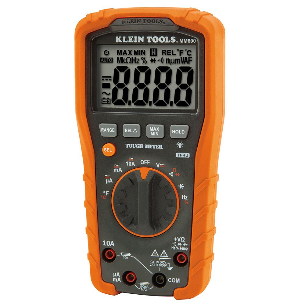 KLEMM600 DIGITAL MULTIMETER AUTO-RANGING 1000V;Klein® MM600 Auto Ranging Digital Multimeter, 1000 VAC/VDC, 10 A, 40 mOhm, 4000 Count LCD Display