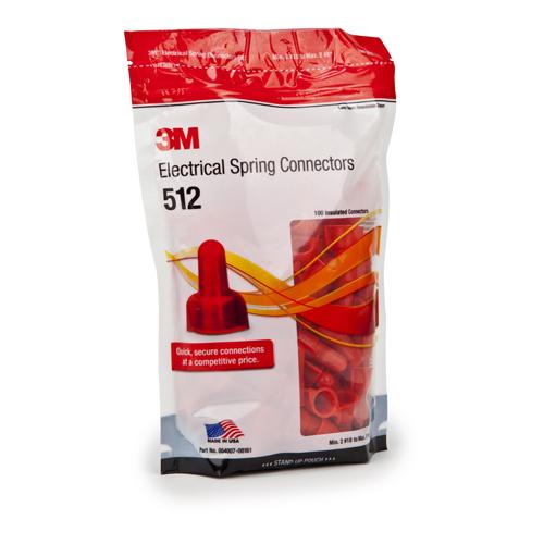 3M 512-BULK RED SPRING CONNECTOR (BULK) WINGNUTRED