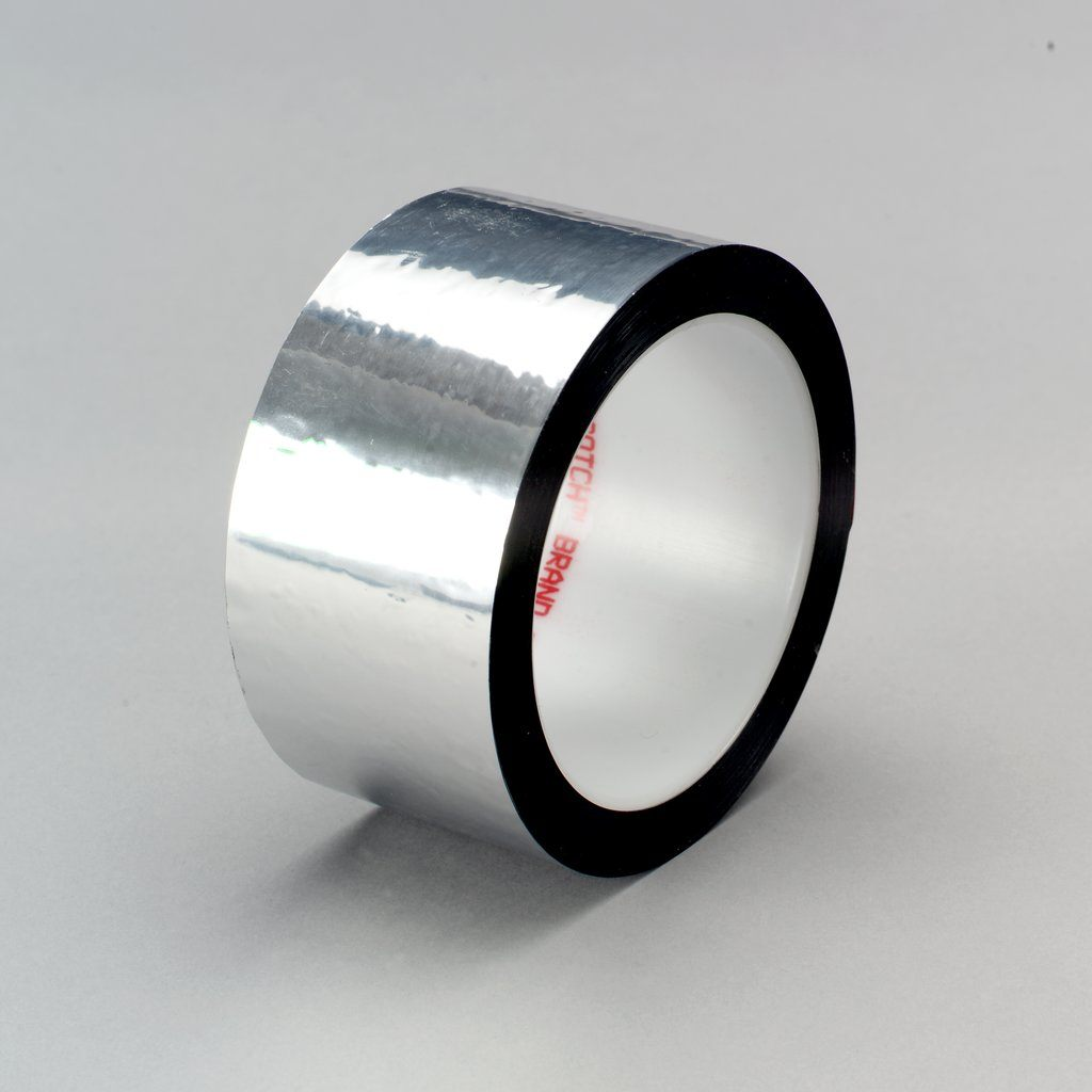 3M™ 021200-04350 850 Film Tape, 72 yd L x 2 in W, 1.9 mil THK, Acrylic Adhesive, 0.9 mil Polyester Backing, Silver