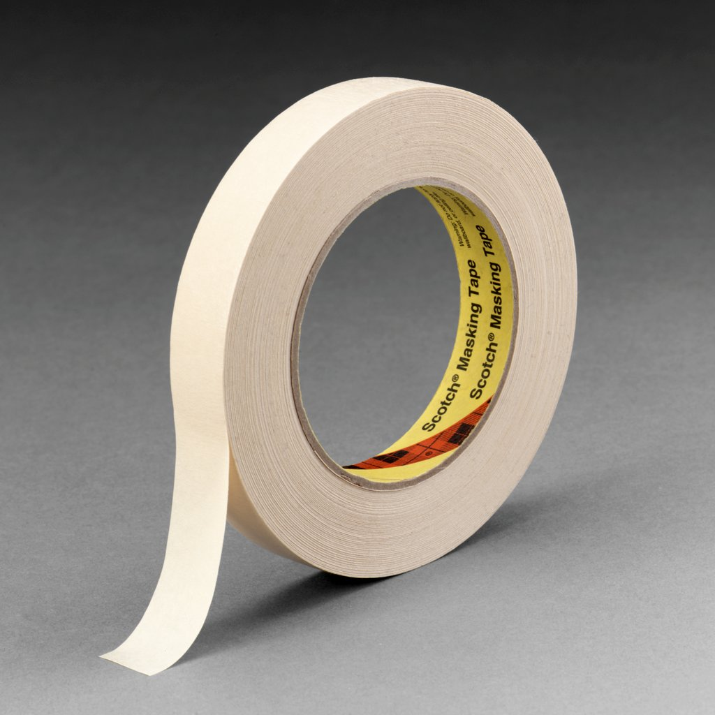 3M™ 021200-02853 232 High Performance Masking Tape, 55 m L x 18 mm W, 6.3 mil THK, Rubber Adhesive, Crepe Paper Backing