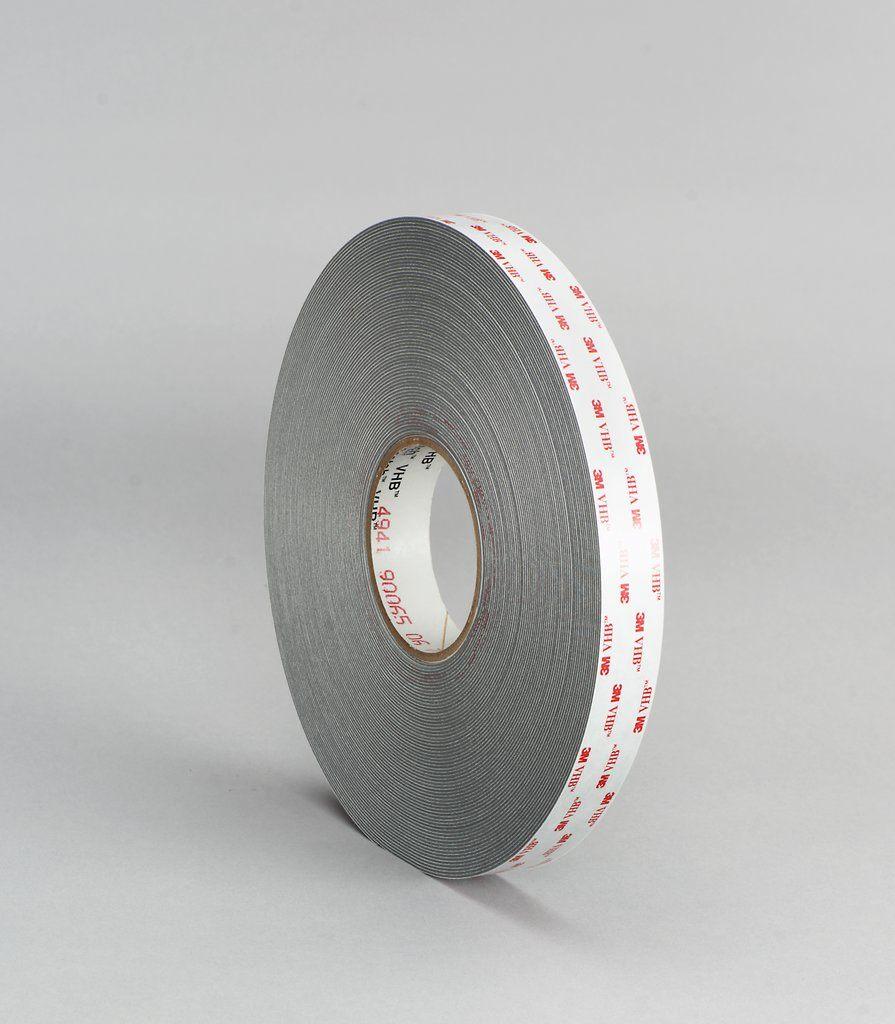 3M™ VHB™ 021200-64630 4941 2-Sided Foam Tape, 36 yd L x 1 in W, 45 mil THK, Acrylic, Acrylic Adhesive, Gray