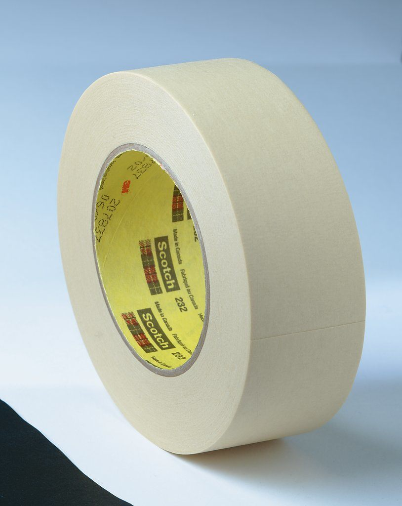 3M™ 021200-02852 232 High Performance Masking Tape, 55 m L x 12 mm W, 6.3 mil THK, Rubber Adhesive, Crepe Paper Backing